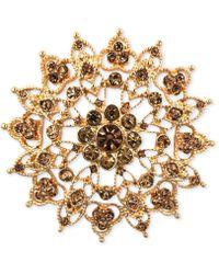Jones New York - Gold-tone Topaz-colored Flower Pin - Lyst