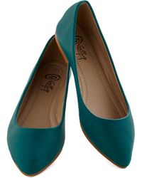 ModCloth Defined The Scenes Flat in Teal - Lyst