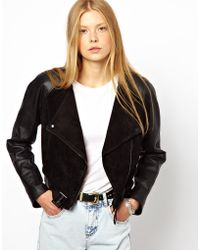 Monki Cropped Leather Suede Biker Jacket - Lyst