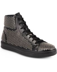 Prada Studded Calfskin Hightop Sneakers - Lyst
