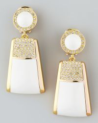 Rachel Zoe - Pave Crystal Drop Clip Earrings - Lyst