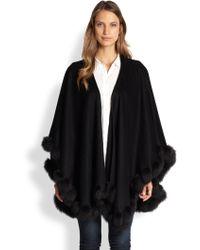 Sofia Cashmere Cashmere & Fox Fur Cape - Lyst