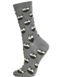 Topshop Christmas Pudding Ankle Socks - Lyst