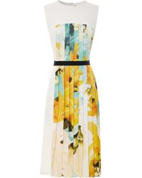 Bibhu Mohapatra Sleeveless Twill Dress with Printed Pleated Inset white - Lyst