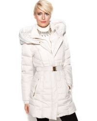 Kensie - Hooded Quilted Belted Puffer - Lyst