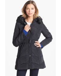 Laundry by Shelli Segal Faux Fur Collar Down Feather Coat - Lyst