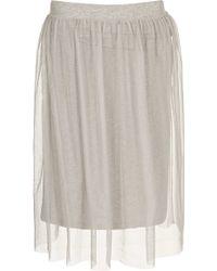 Topshop Grey Midi Tulle Skirt - Lyst