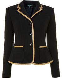 Lauren by Ralph Lauren - Three Button Jacket with Gold Trim - Lyst