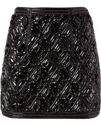 Balmain Beaded Diamond Skirt - Lyst