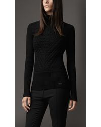 Burberry Cable Knit Merino Wool Rollneck Sweater - Lyst