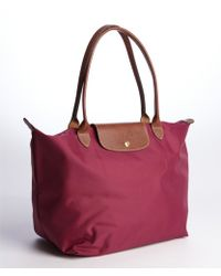 Longchamp Le Pliage Shoulder Tote Large In Pink Cyclamen
