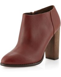 Steven By Steve Madden Sandra Leather Ankle Boot Cognac 9 12 - Lyst
