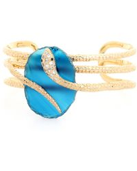 Isharya   Embellished 18kt Goldplated Snake Cuff   Lyst