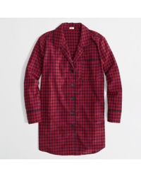 J.Crew Factory Plaid Flannel Pajama Shirt - Lyst