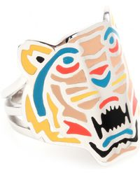 KENZO - Silver Tone Tiger Ring - Lyst
