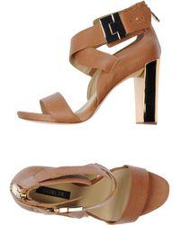 Rachel Zoe Block Heel Leather Sandals - Lyst
