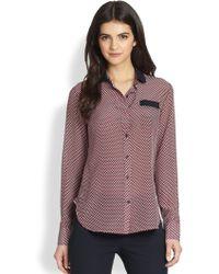 Theory Rogene Silk Cubeprint Shirt - Lyst