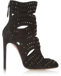 Alaïa Studded Cutout Suede Boots - Lyst
