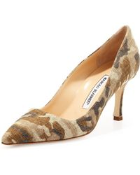 Manolo Blahnik Bb Linen 70mm Pump Camo Made To Order - Lyst