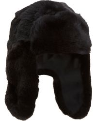 Barneys New York Reversible Rabbit Fur Trapper Hat - Lyst