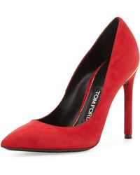 Tom Ford Suede Pointedtoe Signature Pump Scarlet - Lyst