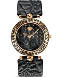 Versace Vanitas Rose Gold Pvd Watch With Black Enamel Dial, 40Mm - Lyst