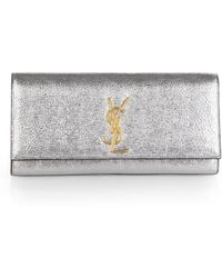 Saint Laurent Cassandre Metallic Leather Clutch - Lyst