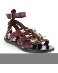 Proenza Schouler Metaldetailed Leather Gladiator Sandals - Lyst