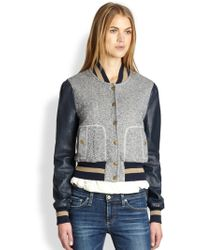 Rachel Zoe Ryder Leather sleeve Baseball Jacket - Lyst