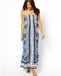 Oasis Bandeau Maxi Dress with Blue Tile Floral Print - Lyst