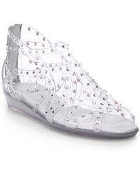 Stuart Weitzman Glogladius Crystal-Coated Sandals - Lyst
