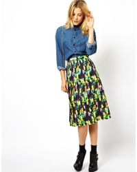 Asos Pleated Midi Skirt in Print - Lyst