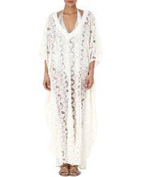 Melissa Odabash Camilla Crochet Long Kaftan Cream - Lyst