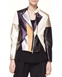 3.1 Phillip Lim Shimmery Colorblock Leather Biker Jacket - Lyst