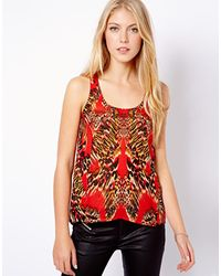 TFNC Mango Mirror Print Swing Tank red - Lyst