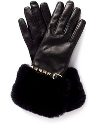 Valentino Rockstud Fur Trimmed Leather Gloves - Lyst