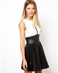 Asos Exclusive Colour Block Skater Dress with Leather Look Pleated Skirt - Lyst