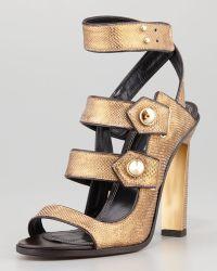 Derek Lam Beatrice Snakeskin Strappy Sandal Bronze - Lyst