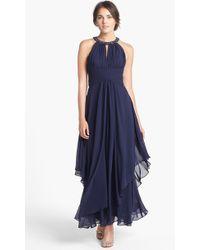 Eliza J Embellished Tiered Chiffon Halter Gown - Lyst