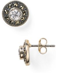 Judith Jack - Sterling Silver And Crystal Stud Earrings - Lyst