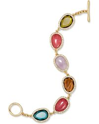 Lauren by Ralph Lauren - Gold-Tone And Multi Stone With Pave Crystal Flex Toggle Bracelet - Lyst