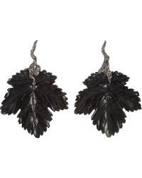 Lucifer Vir Honestus - Dark Jade Diamond Leaf Earrings - Lyst
