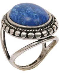 Lucky Brand - Silver Tone Ring with Lapis Stone - Lyst