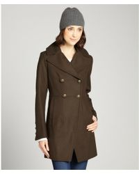 DKNY Military Green Double Breasted Wool Peacoat - Lyst