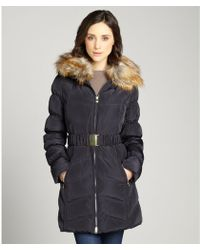 Laundry by Shelli Segal Mystic Blue Belted Three Quarter Coat Removable Faux Fur Trim Collar Coat - Lyst