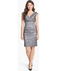 Adrianna Papell Bonded Lace Sheath Dress - Lyst