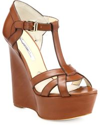 Brian Atwood - Sema Leather Wedge Sandals - Lyst