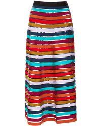 Cynthia Rowley Multi Stripe Mesh Inset Skirt - Lyst