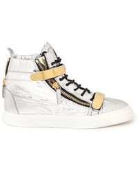 Giuseppe Zanotti London High-Top Metallic Foil Sneakers - Lyst