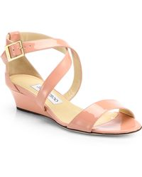 Jimmy Choo Chiara Patent Leather Wedge Sandals - Lyst